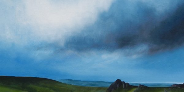 Bygrave. Tavy Cleave, Dartmoor. Oil on canvas, Image W50xH50cm, Frame W53xH53cm white wooden tray frame, £475 copy