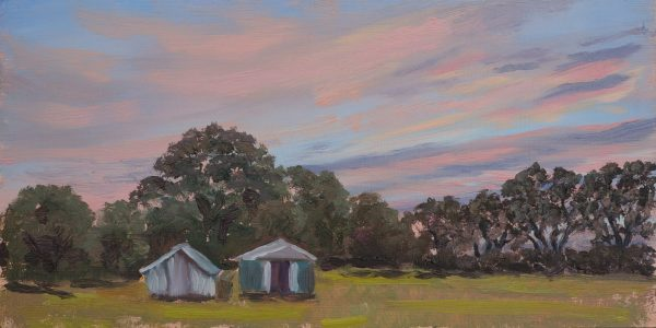 Chudley.Sunset-over-Chicken-coops_Chudley_30x15_40x25_£145